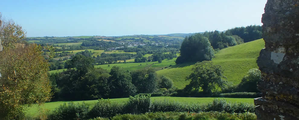Views over Lostwithiel from the ramparts at Restormel Castle